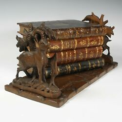 Antique Black Forest Hand Carved Wood Book Rack Holder Stand Chamois / Goats