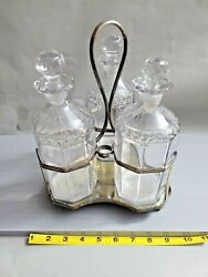 Antique Glass And Silver Plate Decanter Tantalus Set