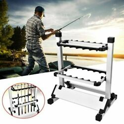 12 Rods Rack Fishing Rod Pole Holder Stand Aluminum Alloy Portable Storage Tool