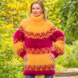 Yellow Purple Sweater Nordic Mohair Pullover Thick Icelandic Jumper Supertanya