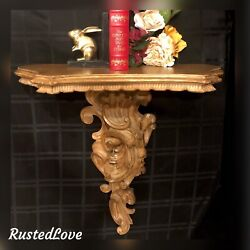 Antique Italian Wall Shelf Gilded Carved Acanthus Scrolls Rococo Style Xl 26