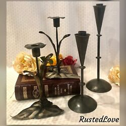 4 Metal Candle Holders Hand Crafted Bronzed / Leaf Decorated Candlesticks Set