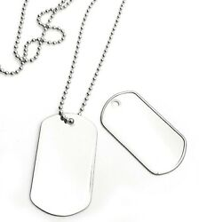 Lot 500 Blank Stainless Steel Dog Tag Shiny/matte With 500 24 S/s Necklaces