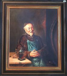 Fine 1850s Signed Antique Original Oil Painting On Canvas Of Smoking Cigar Man