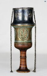 A Fine Antique 19th Century Silver Brass Hookah Cup Top W/ Turquoise And Ruby