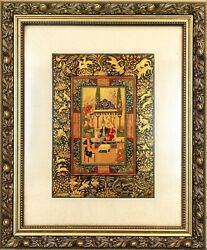 Antique Middle Eastern Miniature Painting By Kazem Shahbazi Safavid Style