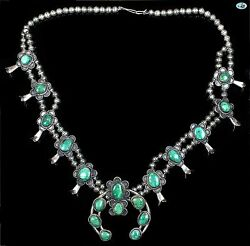 Native American Indian Navajo Green Turquoise Kxxt Jk Sterling Silver Necklace