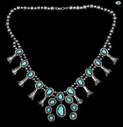 Vintage Native American Indian Navajo Turquoise Sterling Silver Necklace