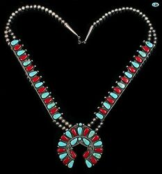 Vintage Native American Indian Navajo Turquoise Coral Sterling Silver Necklace