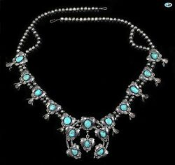 Vintage Native American Indian Navajo Sterling Silver Turquoise Beads Necklace