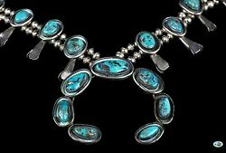 Vintage Native American Indian Navajo Sterling Silver Arch Turquoise Necklace