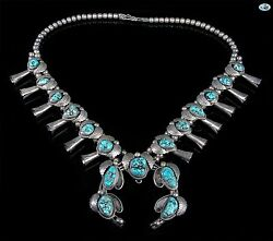 Fine Vintage Native American Indian Navajo Sterling Silver 15 Turquoise Necklace