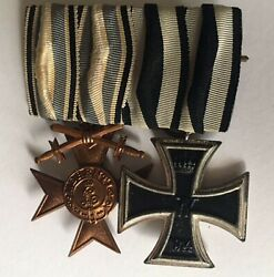Medal Ww1 German Group Of 2 - Iron Cross 2nd Class And Bayern Mvk 3rd With Swords