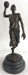 Vintage Bronze Statue Basketball Player Sports Icon Black Marble Post Up Gift