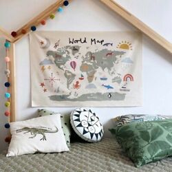 Nordic Educational Kids Room World Map Decoration Poster Nursery Art Canvas Wall