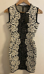 Nwt Bcbg Black White Floral Knit Jacquard Bodycon Jose Mini Fitted Dress In Xs