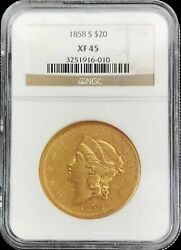 1858 S Gold United States 20 Liberty Double Eagle Type 1 Coin Ngc Xf 45