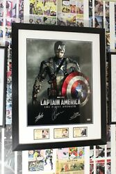 Captain America Photo Framed And Signed By Stan Lee Joe Simon And Chris Evans