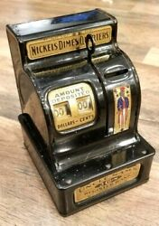 Antique Uncle Sam's Cash Register Coin Bank With Lever And Orig. Uncle Sam Badge
