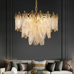 Copper Glass Chandeliers Led Lighting E14 Bulb Ceiling Fixtures Home Decorations