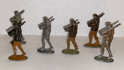 World War I Set Of 6 Toy Soldier Doughboy Flats Painted Unpainted