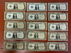 """Lot Of 15 1928 1 One Dollar """"funnyback"""" Silver Certificates Circulated"""