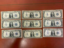 """Lot Of 9 1934 1 One Dollar """"funnyback"""" Silver Certificates Circulated"""