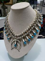 Vintage Sterling Silver .925 Blue Turquoise South West Squash Blossom Necklace