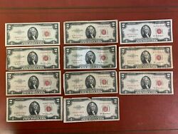 Lot Of 11 1953 Two Dollar Bill 2 Notered Seal Note 3