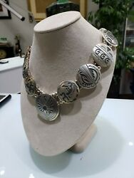 Vintage Sterling Silver .925 Mexican Disc Tribal Artwork Ball Necklace