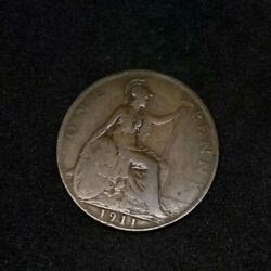1911 Britain England British English Large Cent Penny Currency King George V 3