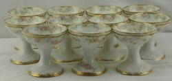 Theodore Haviland Schleiger 340 Double Gold Rose Set 11 Punch Cups Sherberts