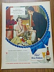 1948 Pabst Blue Ribbon Beer Ad Furness Of Beverly Hills Springs Mills Fabric Ad