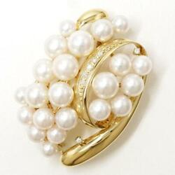 Jewelry 18k Yellow Gold Brooch Pearl Diamond 0.07 About14.6g Free Shipping Used