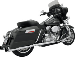 Bassani 1f46r +p Stepped True Duals Exhaust System Chrome With Black End Caps