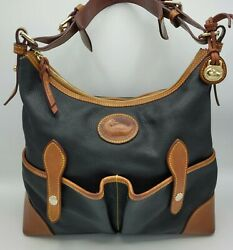 Vintage Dooney And Bourke Oversized Large Hobo Black And Tan Rare All Weather Awl
