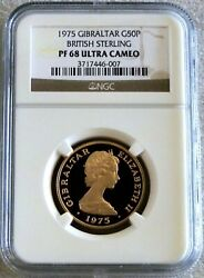 1975 Gold Gibraltar 750 Minted 50 Pounds Sterling Ngc Proof 68 Ultra Cameo