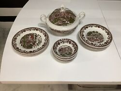 Rare Collection Of Churchill Porcelain Plate Authentic Collectible Set 15 Piece