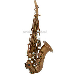 Brown Antique Curved Soprano Saxophone Professional Bb Saxofon With Case