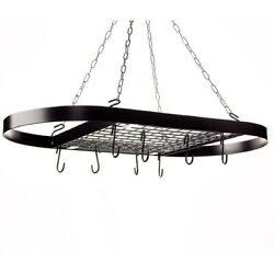 Kinetic 12021 Classicor Black Metal Wrought Iron Hanging Oval Pot Rack