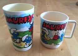 Vintage 1980 The Smurfs Plastic Collectible Cup Lot Toy Peyo Schleich Smurfette
