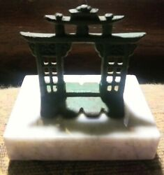 Antique Asian Temple Metal Gateway Buddhist 2.5 X 2.3/4 On Marble Base