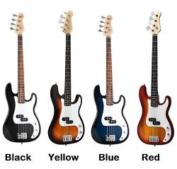 Electric Bass Guitar Set Full Size 4 String With Bag Shoulder Strap Amp Cord