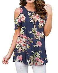 Nimsruc Cold Shoulder Women Tops Casual Tunic Navyblue floral Size XX Large CG $9.99