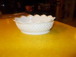Fenton Hobnail White Milk Glass Set Three 6 1/2 By 8 1/2 Candy Dishes