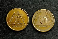 2 Aa Recovery Tokens 11-year Plus Other To Thine Own Self Be True Vintage