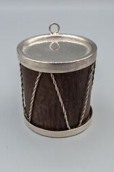 Drum Wood And Sterling Silver Christmas Tree Ornament Rare