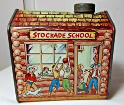 Rare Unopened Cap Full Vintage Towles Log Cabin Syrup Stockade School Litho Tin