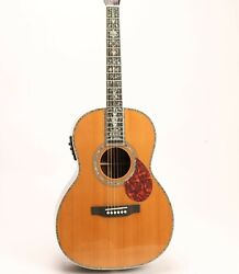 Slotted Head O0045 Electric Acoustic Guitar Soild Red Spruce Top Abalone Inlay