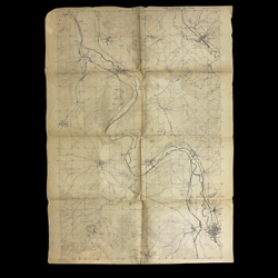 Wwi Rare The Battle Of Stenay 1918 Allied Used Combat Trench Map Meuse-argonne